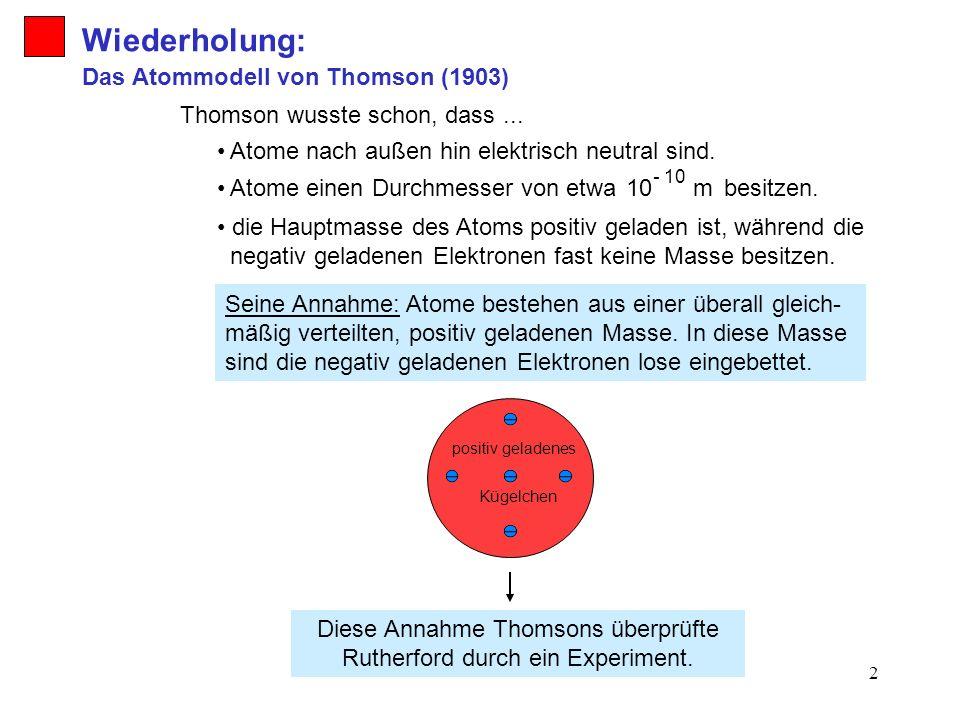 Diese Annahme Thomsons überprüfte Rutherford durch ein Experiment.