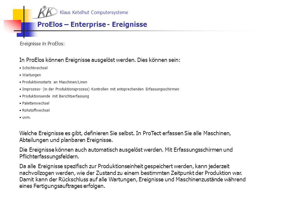 ProElos – Enterprise - Ereignisse