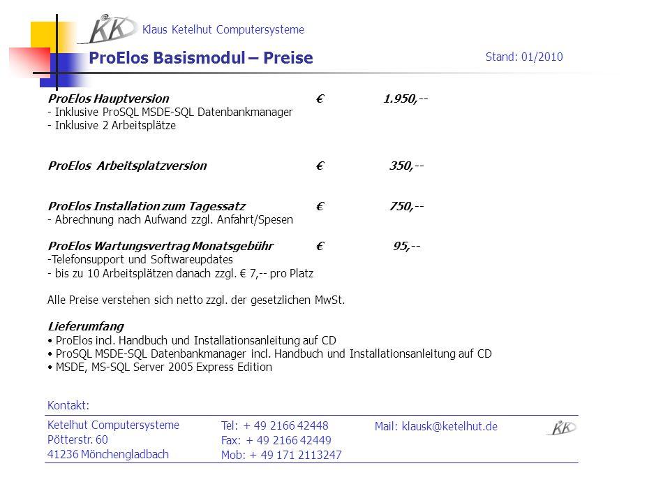 ProElos Basismodul – Preise