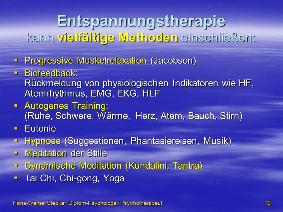 Entspannungstherapie kann vielfältige Methoden einschließen: