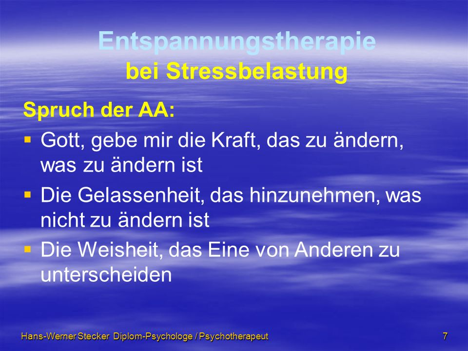 Entspannungstherapie bei Stressbelastung