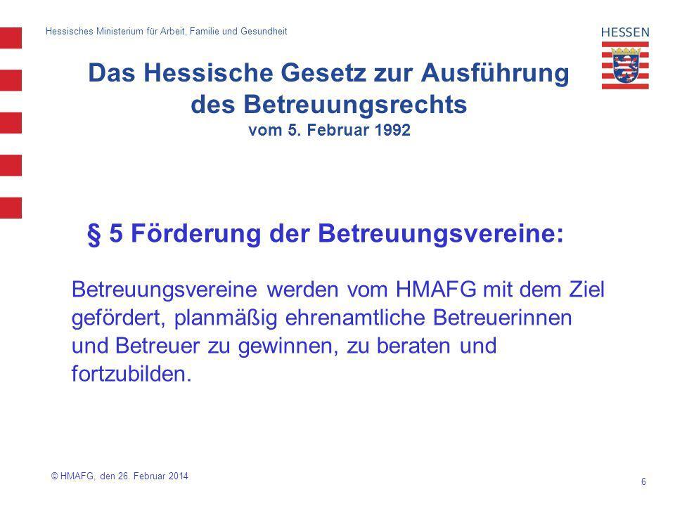 § 5 Förderung der Betreuungsvereine:
