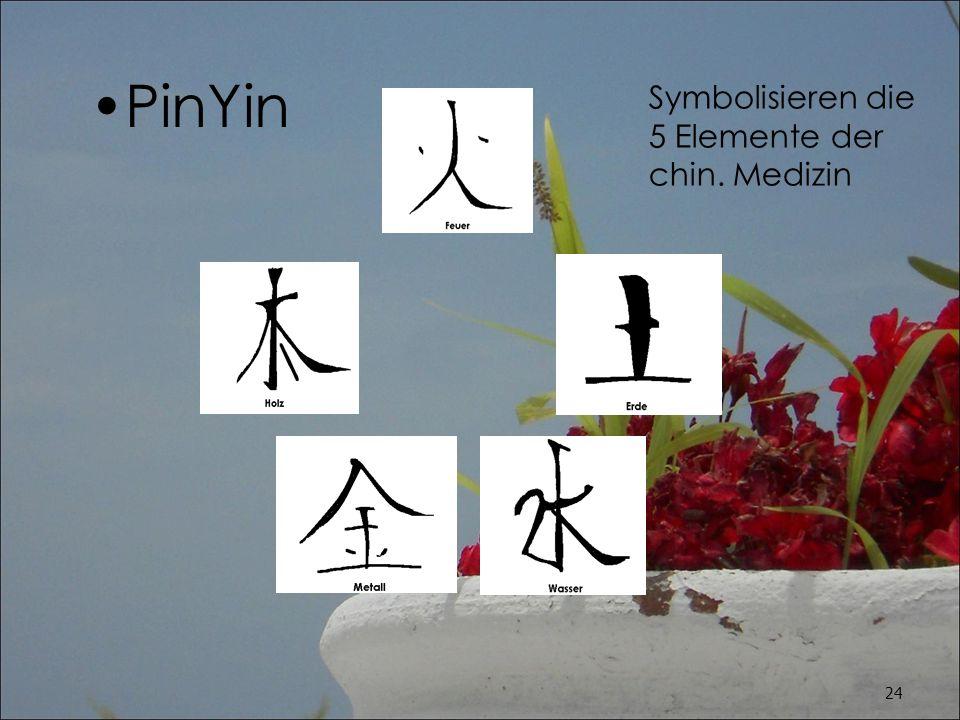 PinYin Symbolisieren die 5 Elemente der chin. Medizin