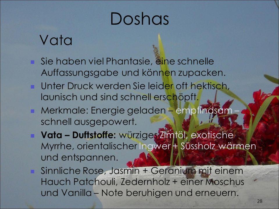 Doshas Vata. Sie haben viel Phantasie, eine schnelle Auffassungsgabe und können zupacken.