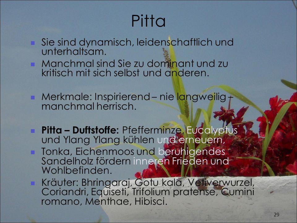 Pitta Sie sind dynamisch, leidenschaftlich und unterhaltsam.