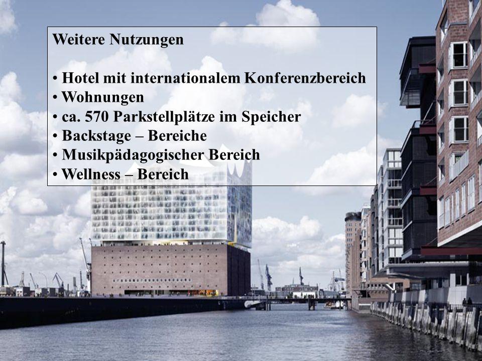 Weitere Nutzungen Hotel mit internationalem Konferenzbereich. Wohnungen. ca. 570 Parkstellplätze im Speicher.