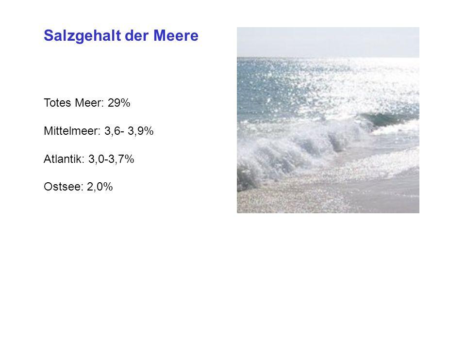 Salzgehalt der Meere Totes Meer: 29% Mittelmeer: 3,6- 3,9%
