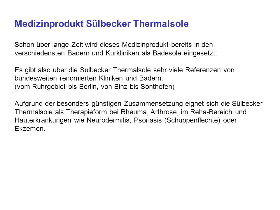 Medizinprodukt Sülbecker Thermalsole