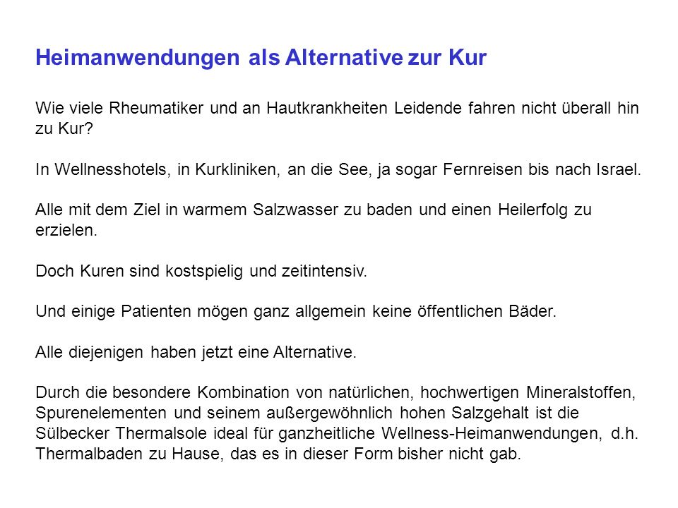 Heimanwendungen als Alternative zur Kur