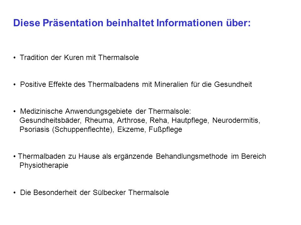 Diese Präsentation beinhaltet Informationen über:
