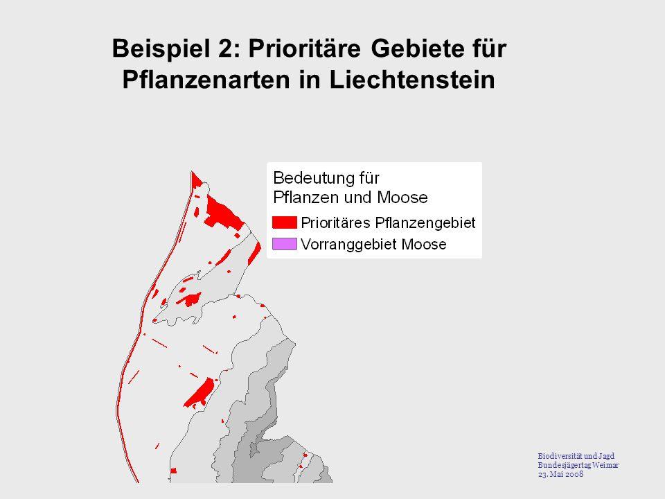 Beispiel 2: Prioritäre Gebiete für Pflanzenarten in Liechtenstein