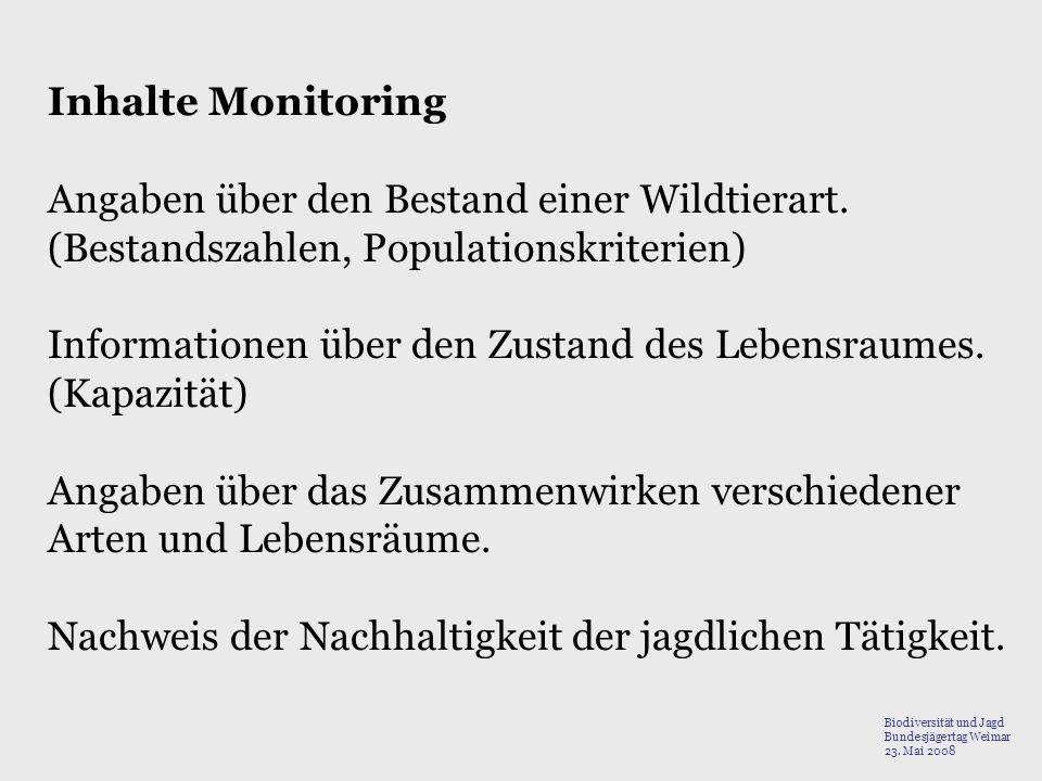 Angaben über den Bestand einer Wildtierart.