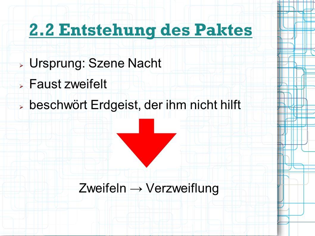2.2 Entstehung des Paktes Ursprung: Szene Nacht Faust zweifelt