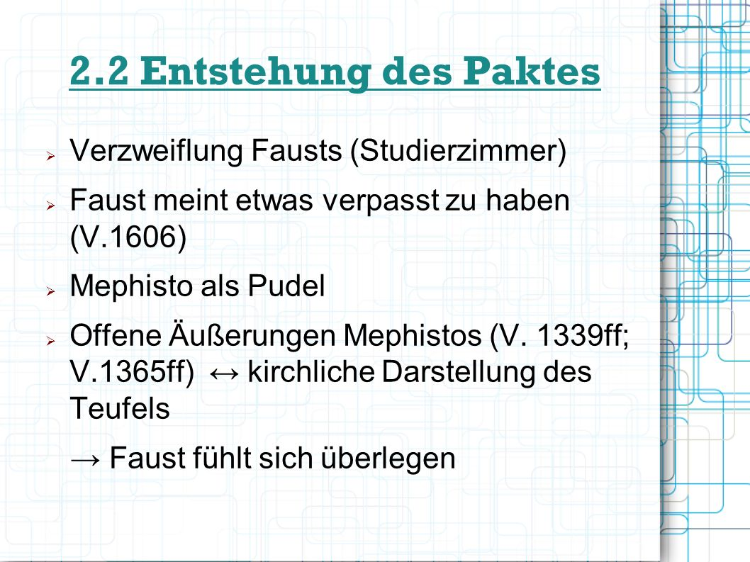 2.2 Entstehung des Paktes Verzweiflung Fausts (Studierzimmer)