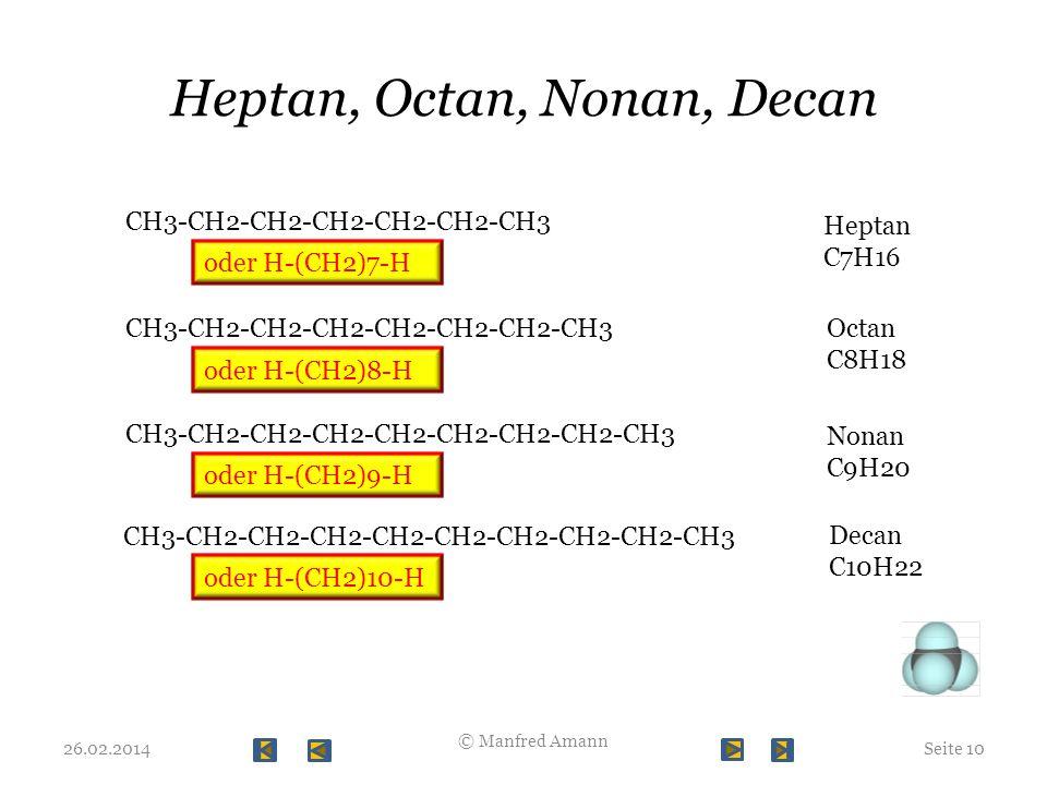 Heptan, Octan, Nonan, Decan