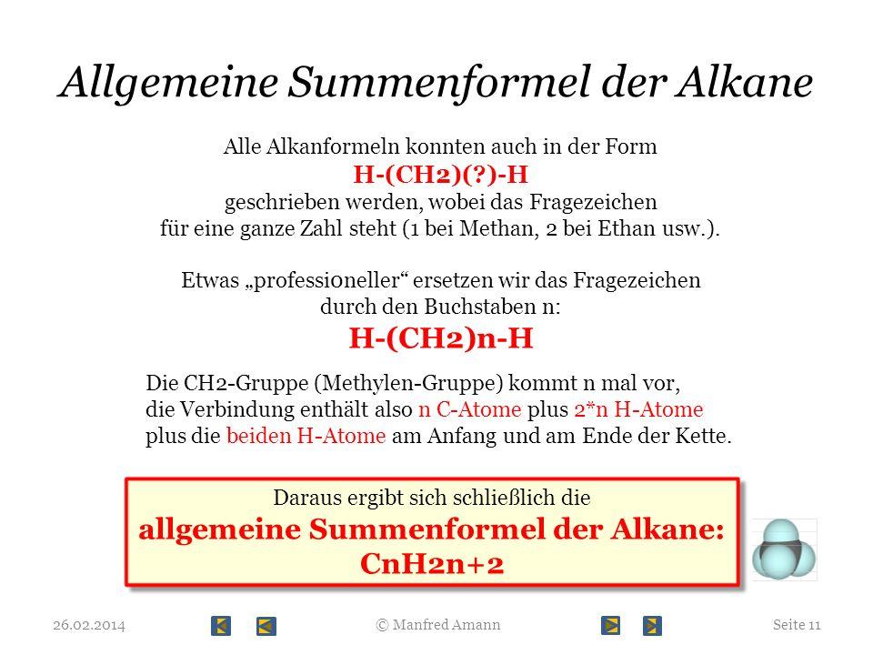 Allgemeine Summenformel der Alkane