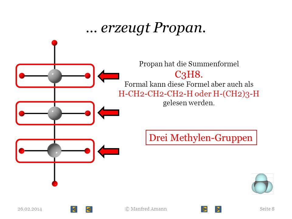 … erzeugt Propan. C3H8. Drei Methylen-Gruppen