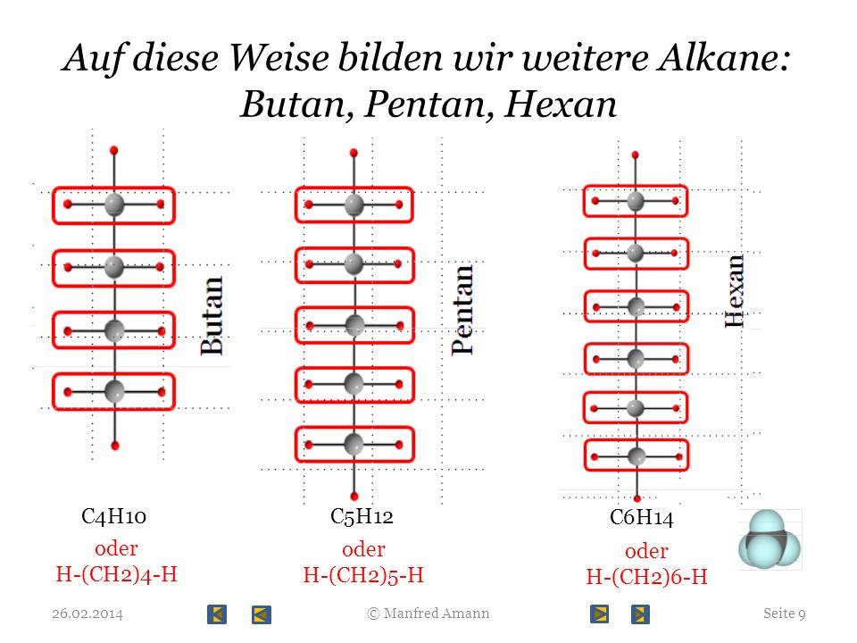 Auf diese Weise bilden wir weitere Alkane: Butan, Pentan, Hexan