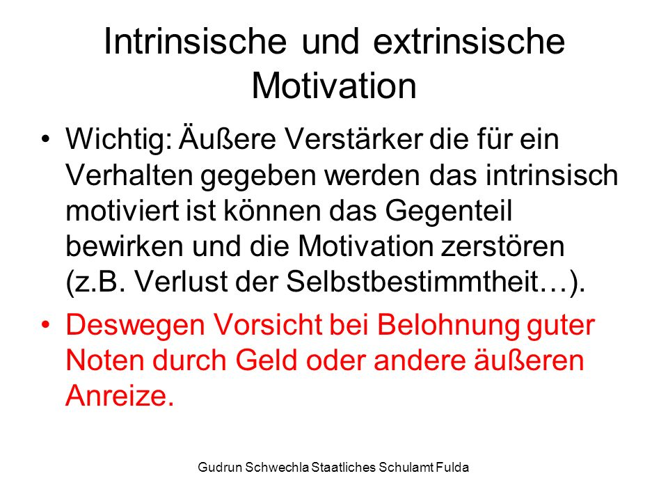 Intrinsische und extrinsische Motivation