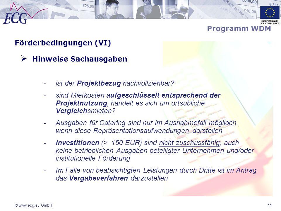 Förderbedingungen (VI) Hinweise Sachausgaben