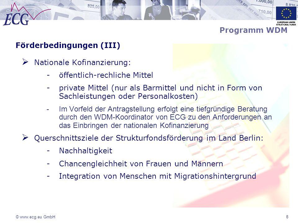 Förderbedingungen (III) Nationale Kofinanzierung: