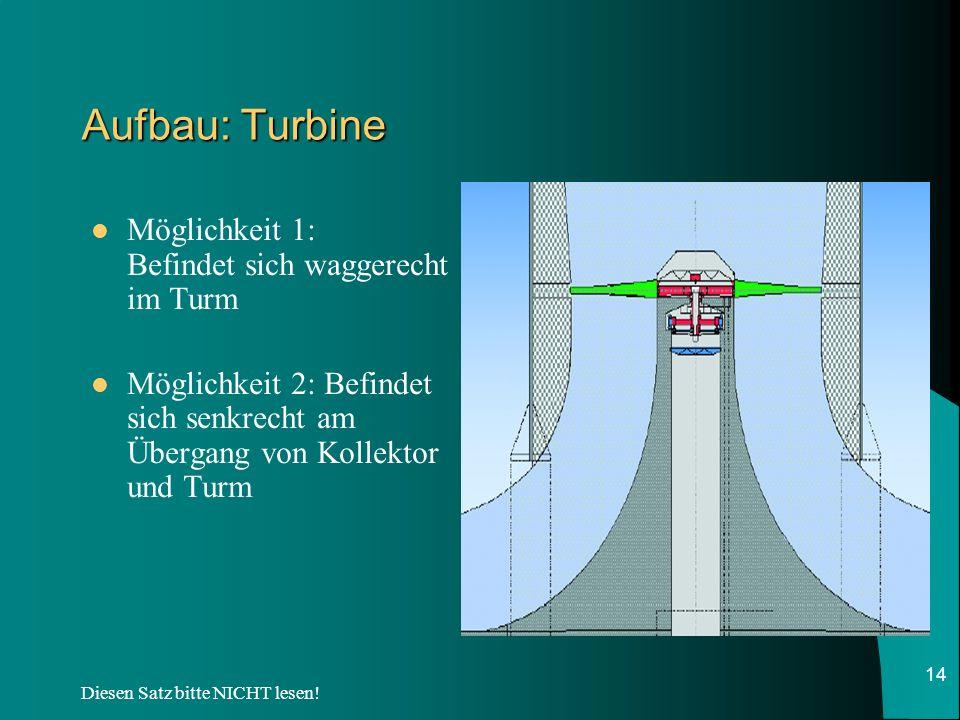Aufbau: Turbine Möglichkeit 1: Befindet sich waggerecht im Turm