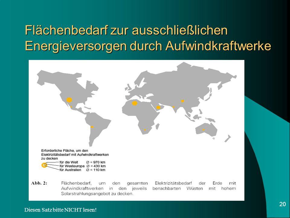 Flächenbedarf zur ausschließlichen Energieversorgen durch Aufwindkraftwerke