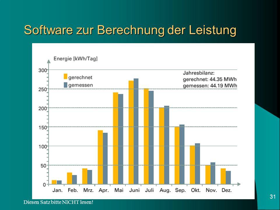 Software zur Berechnung der Leistung
