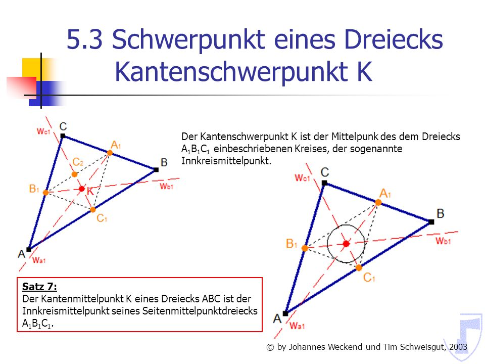 5.3 Schwerpunkt eines Dreiecks Kantenschwerpunkt K