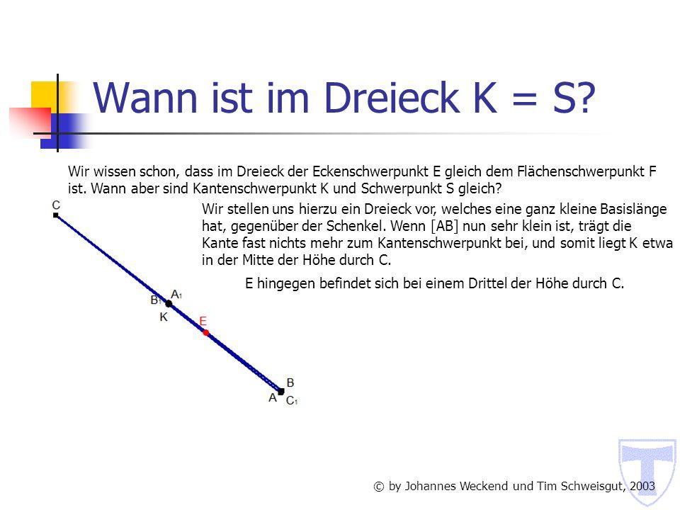 Wann ist im Dreieck K = S Wir wissen schon, dass im Dreieck der Eckenschwerpunkt E gleich dem Flächenschwerpunkt F.
