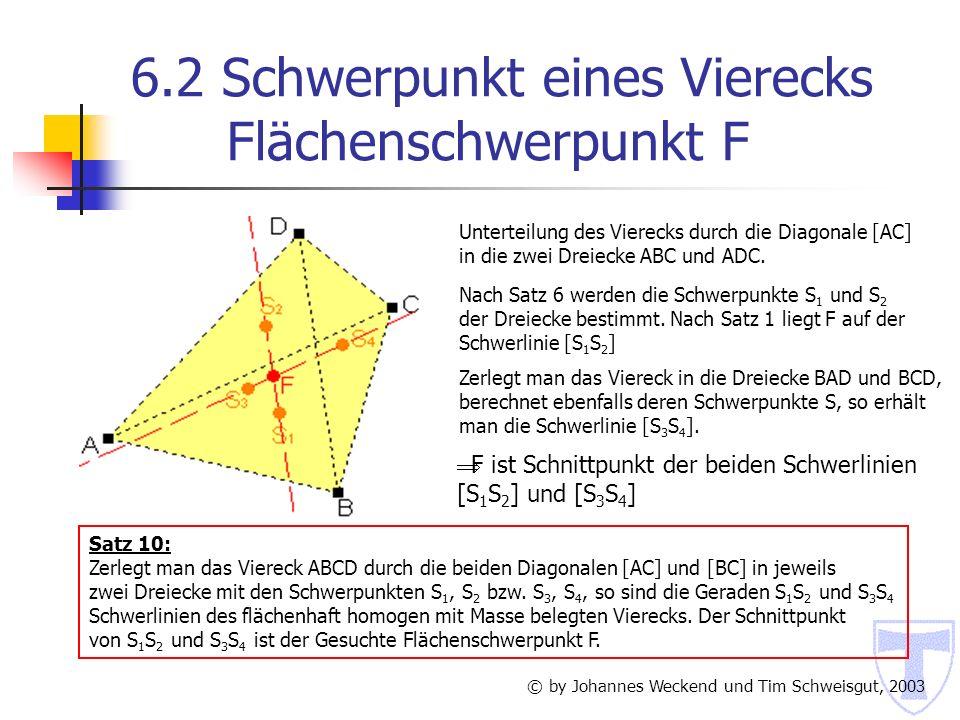 6.2 Schwerpunkt eines Vierecks Flächenschwerpunkt F
