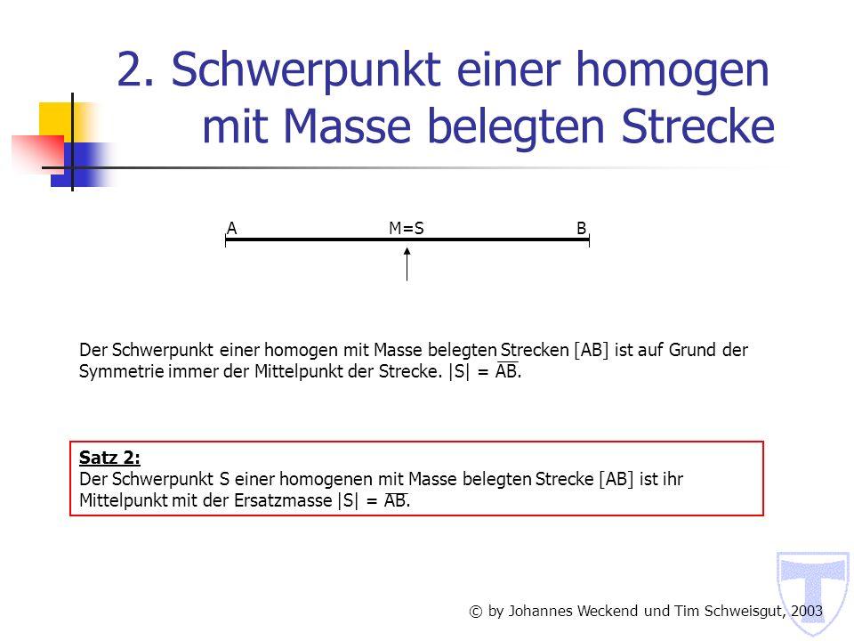 2. Schwerpunkt einer homogen mit Masse belegten Strecke