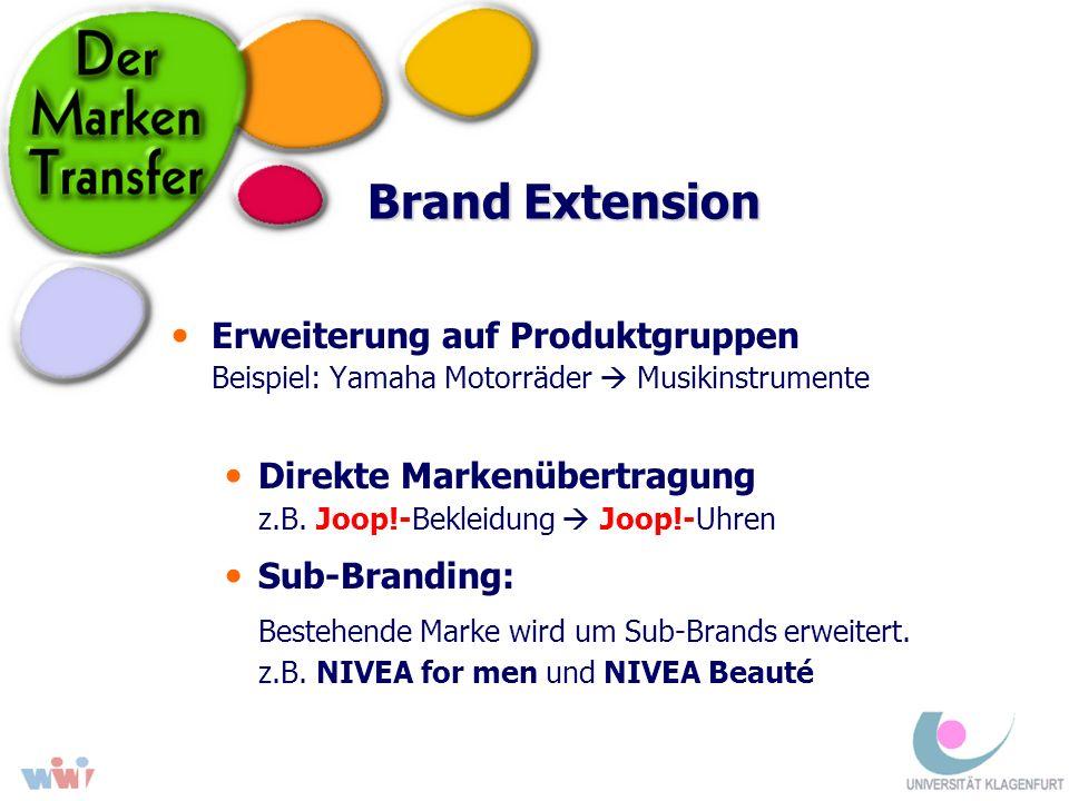 Brand Extension Bestehende Marke wird um Sub-Brands erweitert.