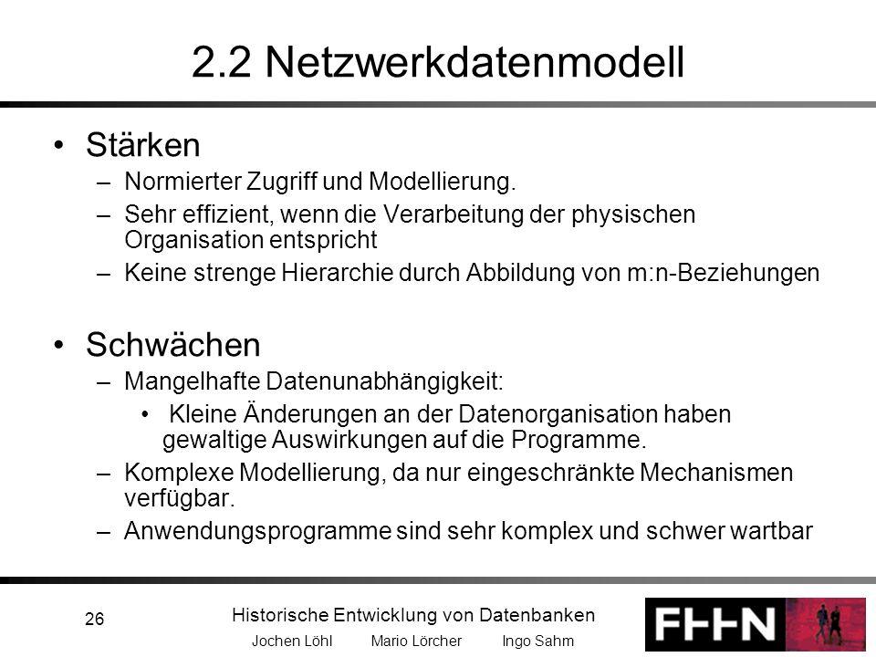 2.2 Netzwerkdatenmodell Stärken Schwächen