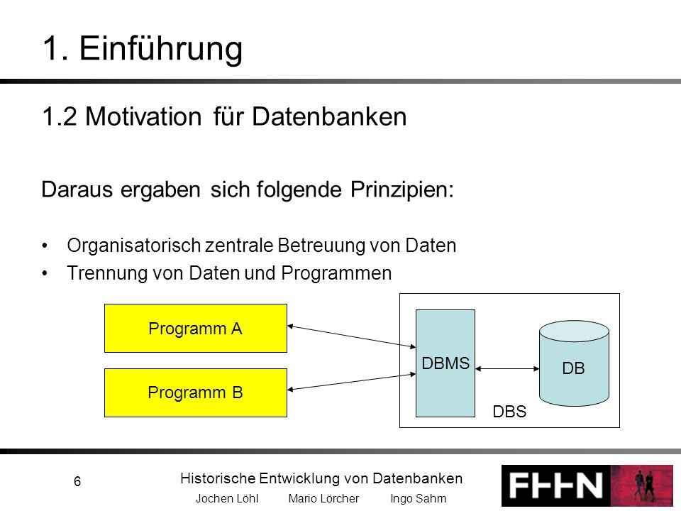 1. Einführung 1.2 Motivation für Datenbanken