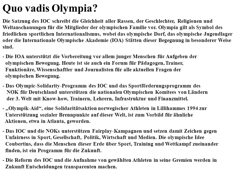 Quo vadis Olympia
