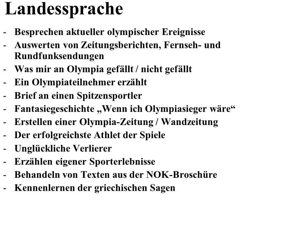 Landessprache Besprechen aktueller olympischer Ereignisse