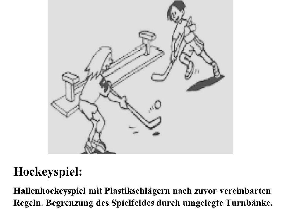 Hockeyspiel: Hallenhockeyspiel mit Plastikschlägern nach zuvor vereinbarten Regeln.