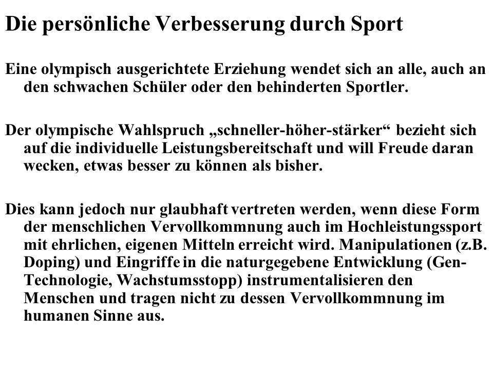 Die persönliche Verbesserung durch Sport