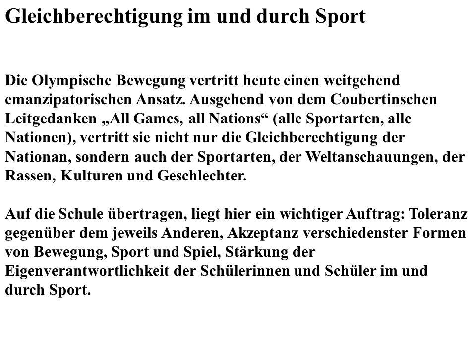 Gleichberechtigung im und durch Sport