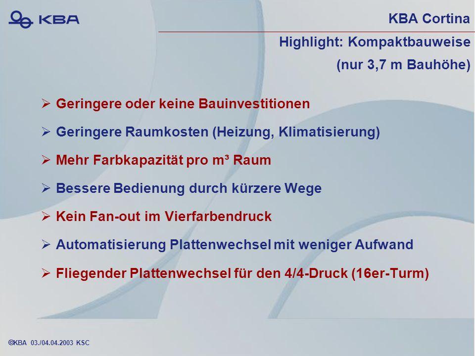 KBA Cortina Highlight: Kompaktbauweise (nur 3,7 m Bauhöhe)