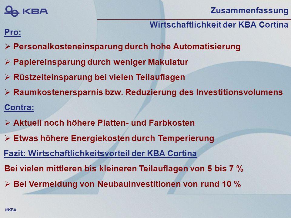Zusammenfassung Wirtschaftlichkeit der KBA Cortina