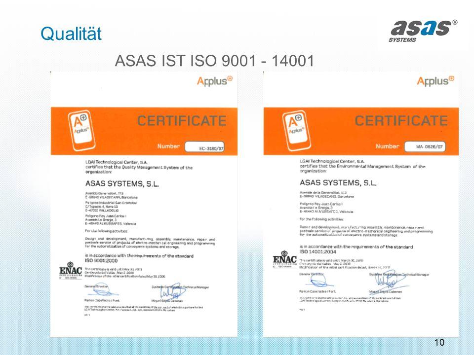Qualität ASAS IST ISO 9001 - 14001 10