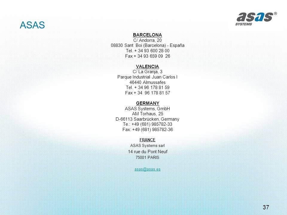 ASAS 37 BARCELONA C/ Andorra, 20 08830 Sant Boi (Barcelona) - España