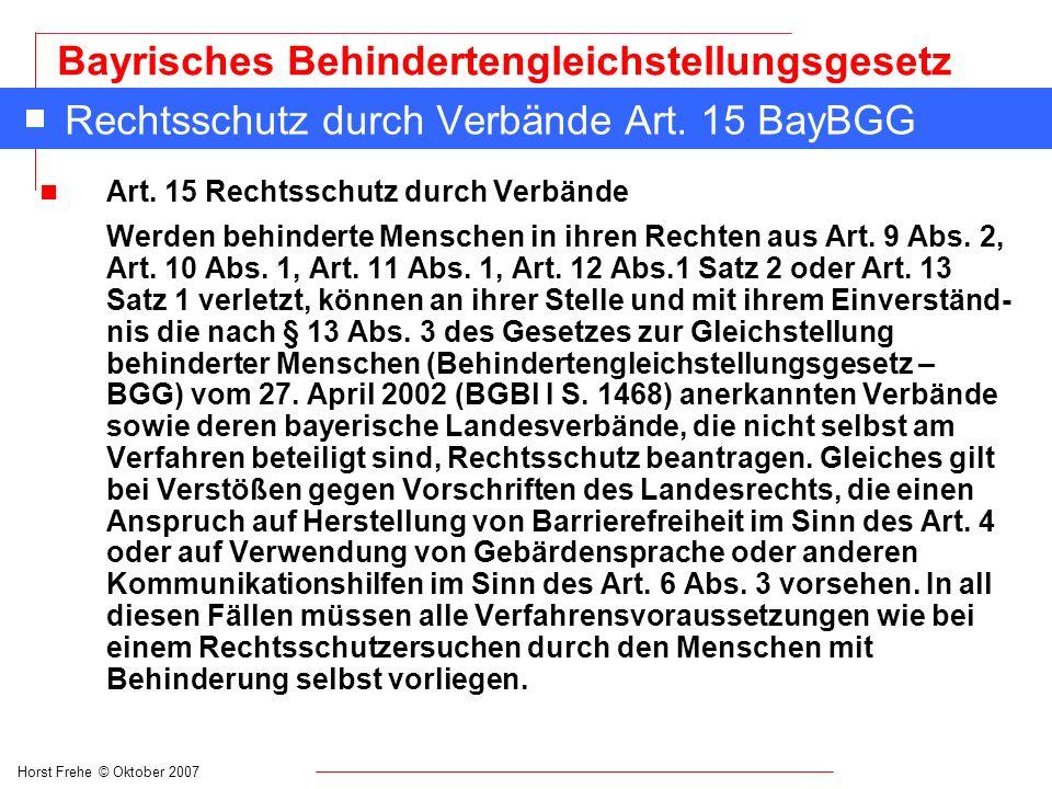 Rechtsschutz durch Verbände Art. 15 BayBGG