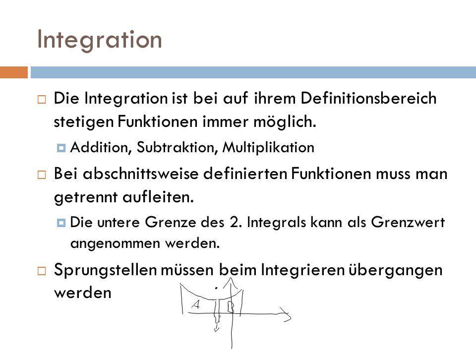 Integration Die Integration ist bei auf ihrem Definitionsbereich stetigen Funktionen immer möglich.