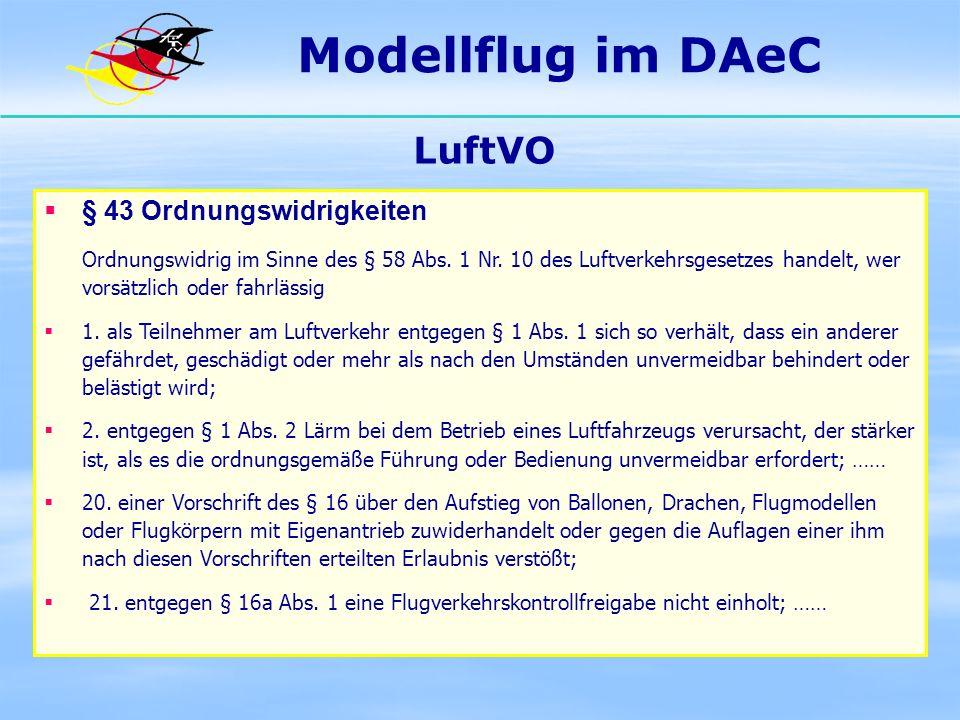 Modellflug im DAeC LuftVO § 43 Ordnungswidrigkeiten
