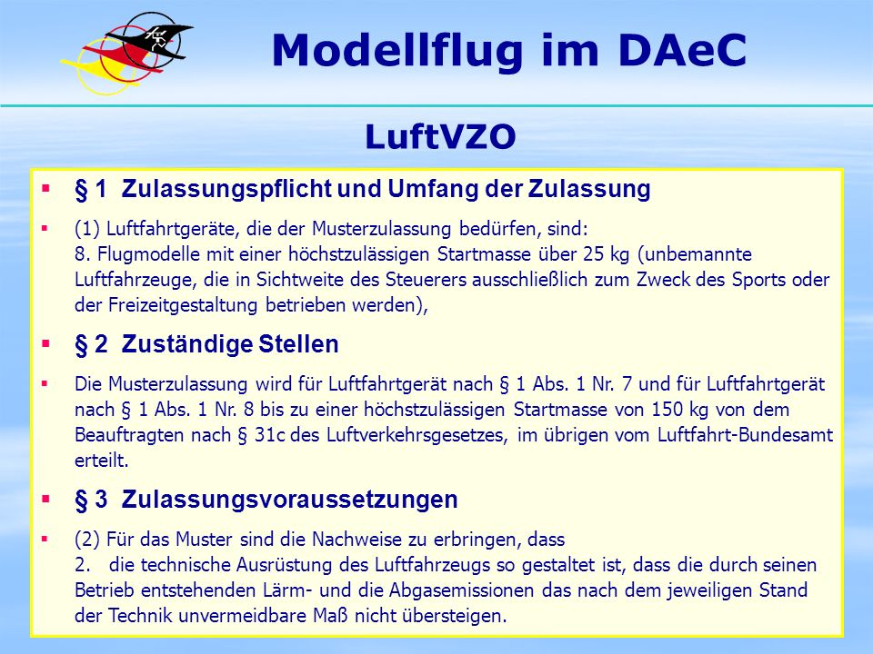 Modellflug im DAeC LuftVZO