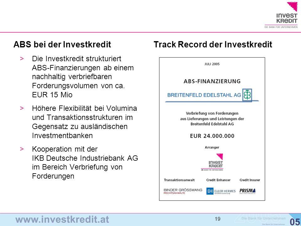 Track Record der Investkredit