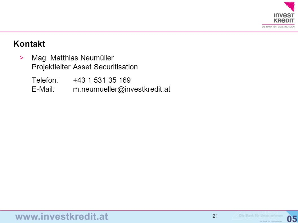 Kontakt Mag. Matthias Neumüller Projektleiter Asset Securitisation